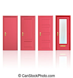 Collection of four red doors, one open and the others...