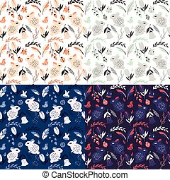 Collection of four seamless patterns with rabbits, lady bugs, birds and flowers