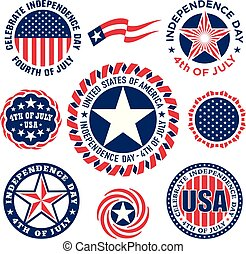 Collection of Fourth of July vintage labels commemorating United States Independence Day.