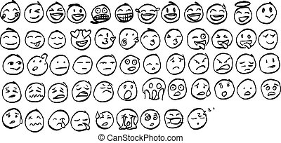 Collection of freehand doodle emoji emoticons vector illustration sketch hand drawn with black lines isolated on white background
