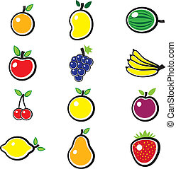 Collection of fresh, colorful and organic summer fruits...