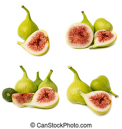Collection of fresh fig fruits