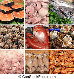 collection of fresh fish and seafood