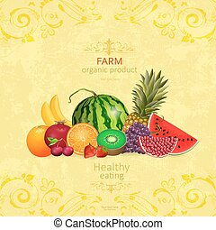 collection of fresh fruits on shabby chic background for your de