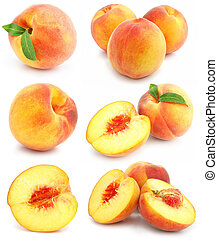 collection of fresh peach fruits isolated