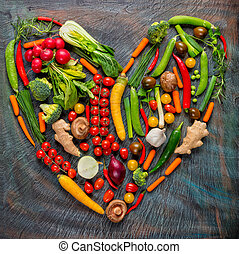 Collection of fresh vegetables in heart shape
