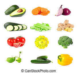 Collection of fresh vegetables isolated on white background. Collage of juicy and ripe vegetables isolated on white background. Close-up