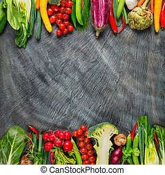 Collection of fresh vegetables on stone - Collection of ...