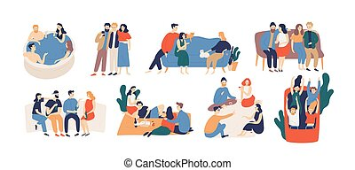 Collection of friends spending time together. Bundle of young men and women playing game, riding roller coaster, talking, having picnic lunch. Colorful vector illustration in flat cartoon style