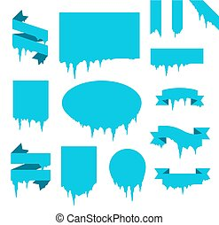 Collection of frozen icicle snow winter banners set