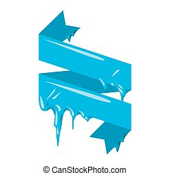 Collection of frozen icicle snow winter vector banner. Icicle vector snow banners, snow ribbon, snow label, icicle emblem. Winter New Year sale, Christmas sale banners. Vector banners isolated icon