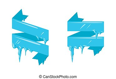 Collection of frozen icicle snow winter vector banner. ...