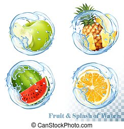 Collection of fruit and berries in a water splash. Apple, ...