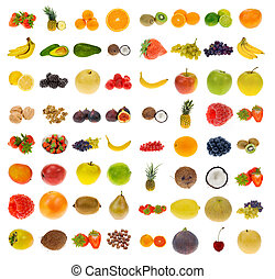 collection of fruit and nuts - big collection of fruit and...