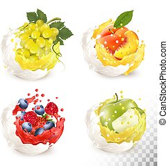 Collection of fruit in a milk and jiuce splash. Apple, peach, strawberry, blueberry.raspberry, grape. Vector Set