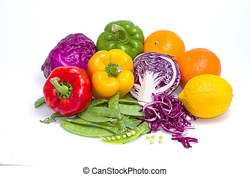 collection of fruits and vegetables for healthy life on white background