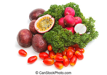 collection of fruits and vegetables on white background