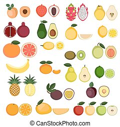Collection of Fruits icons - Set of cartoon food icons. ...