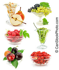 collection of fruits in vase isolated on white