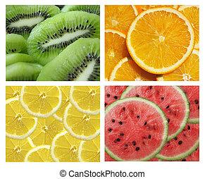 collection of fruits: kiwi, lemon, orange, watermelon