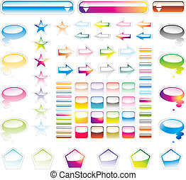 collection of full colours web elements with glossy effect