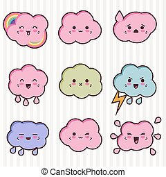 Collection of funny and cute happy kawaii clouds.
