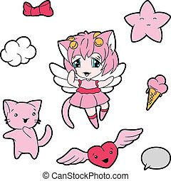 Collection of funny and cute kawaii characters.