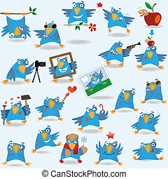 Collection of funny blue birds