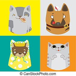 Collection of funny dogs and cats. Vector colorful pattern.