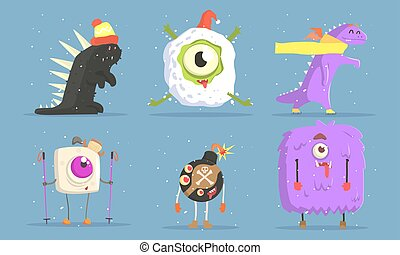 Collection of Funny Monsters Cartoon Characters in Winter Outdoor Activities Set Vector Illustration