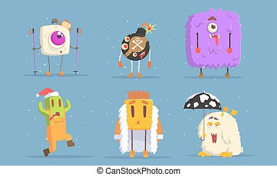 Collection of Funny Monsters Cartoon Characters in Winter Season Set Vector Illustration