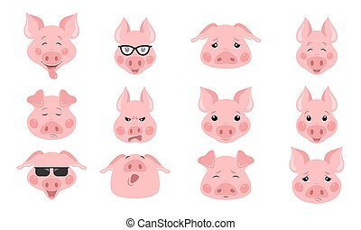 Collection of funny pig emoticon characters in different emotions. Vector set
