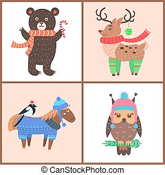 Collection of Funny Posters Vector Illustration