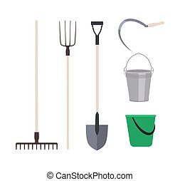 Collection of garden tools or agricultural implements isolated on white background - rake, pitchfork shovel, buckets, sickle. Set of equipment for harvest gathering. Flat cartoon vector illustration