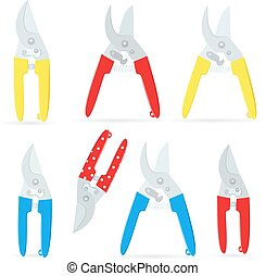 collection of gardening secateurs for your design