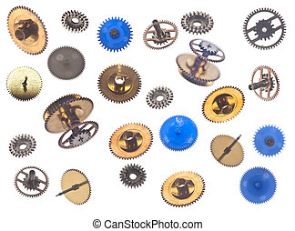 collection of gearweels isolated on white