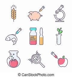 Collection of genetic modification icons. GMO. Genetic engineering. Genetic mutation.