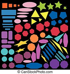 collection of geometric abstract colored design elements