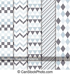 Collection of geometric seamless patterns.