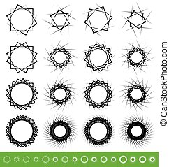 Collection of geometric spiral shapes. Set of 16 rotating abstract circular element