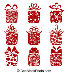 A collection of gift boxes on a white background