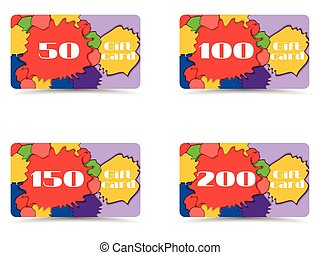 Collection of gift cards. Vector.