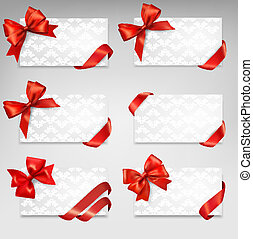 Collection of gift cards with red ribbons. Vector background