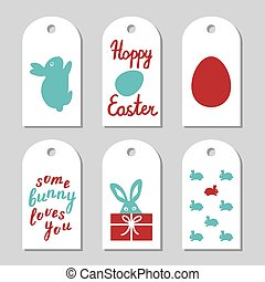 Collection of gift tags decorated with bunnies.