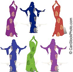Collection of girls dancing, oriental dance, in multi-colored dresses, with a pattern of branches with leaves, summer design for decoration,