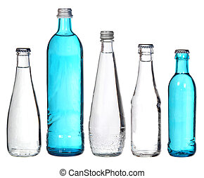 collection of glass bottles isolated on white