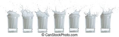 glasses with milk splashes