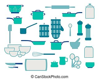 Collection of glassware kitchenware and cookware set of kitchen utensils for home cooking, flat vector illustration