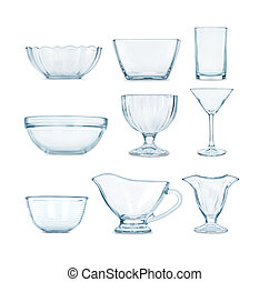 collection of glassware on a white background