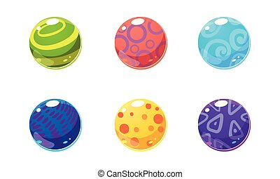 Collection of glossy balls, colorful shiny spheres, user interface assets for mobile apps or video games vector Illustration
